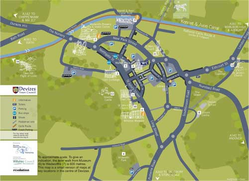 Devizes map with car, coach, motor home parking